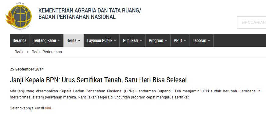 Halaman Situs Kementerian Agraria dan Tata Ruang pada tanggal 18 Mei 2015